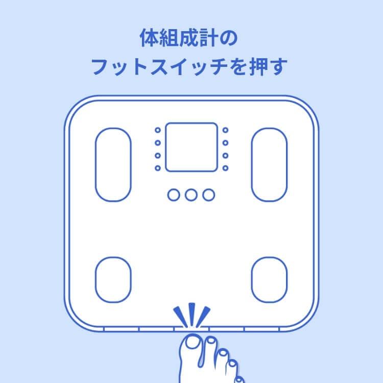 体組成計のフィットスイッチを押す