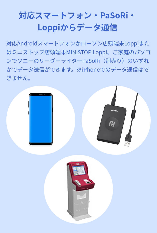 対応スマートフォン・PaSoRi・Loppiからデータ通信