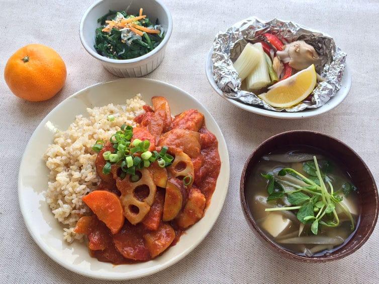 ささみと根菜のカレーライス定食